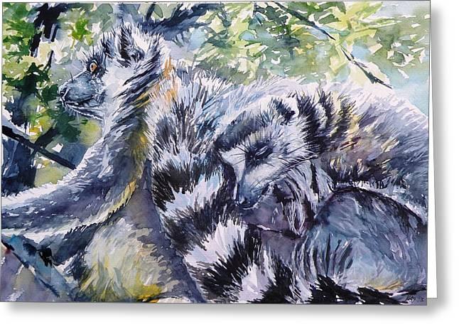 Ring-tailed Lemurs 13 Greeting Card