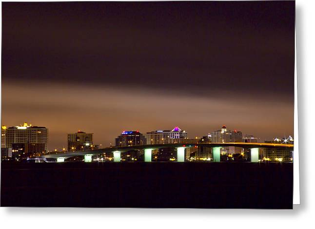 Ringling Bridge And Sarasota Greeting Card by Nicholas Evans