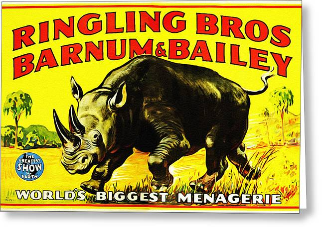 Ringling Brothers Barnum And Bailey Circus Greeting Card by Bill Cannon