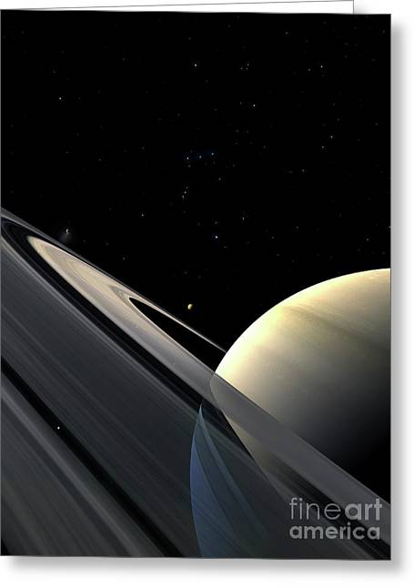 Rings Of Saturn Greeting Card by Fahad Sulehria