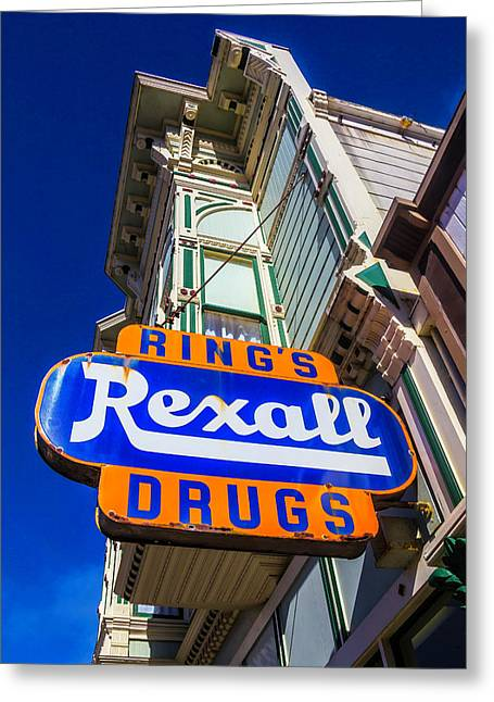 Rings Rexall Drugs Sign Greeting Card by Garry Gay
