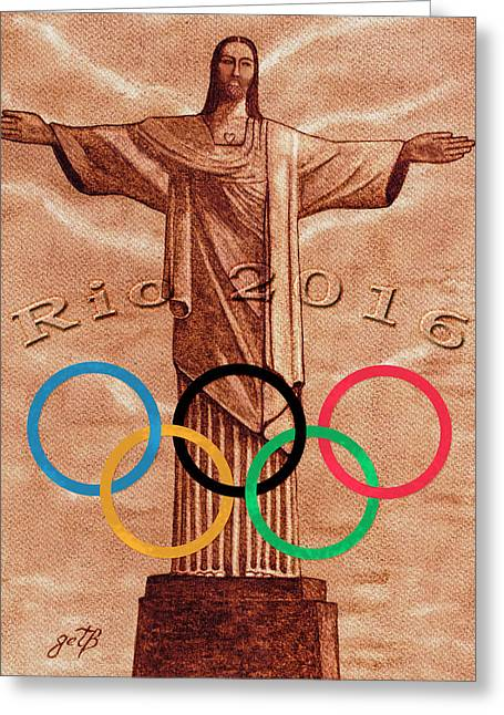 Greeting Card featuring the painting Rio 2016 Christ The Redeemer Statue Artwork by Georgeta Blanaru