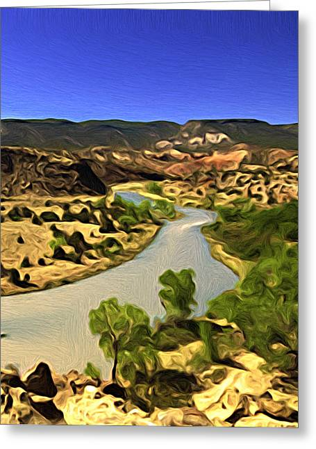Greeting Card featuring the painting Rio Chama River by Lou  Novick