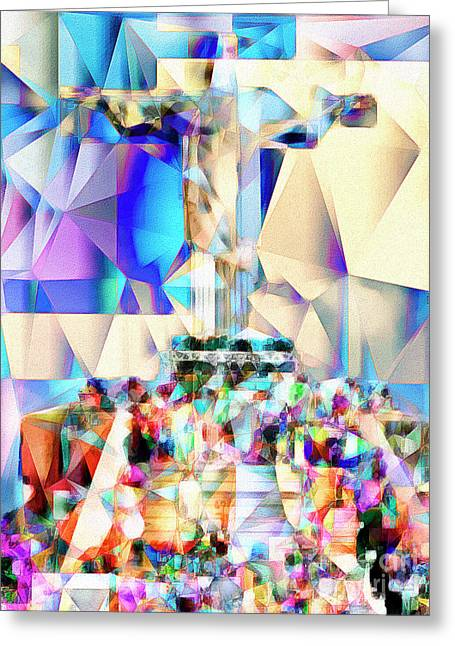 Greeting Card featuring the photograph Rio Christ The Redeemer In Abstract Cubism 20170327 by Wingsdomain Art and Photography