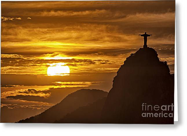 Greeting Card featuring the photograph Rio De Janeiro Christ Statue by Juergen Held