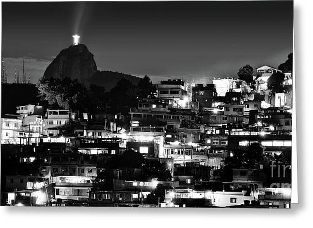 Rio De Janeiro - Christ The Redeemer On Corcovado, Mountains And Slums Greeting Card