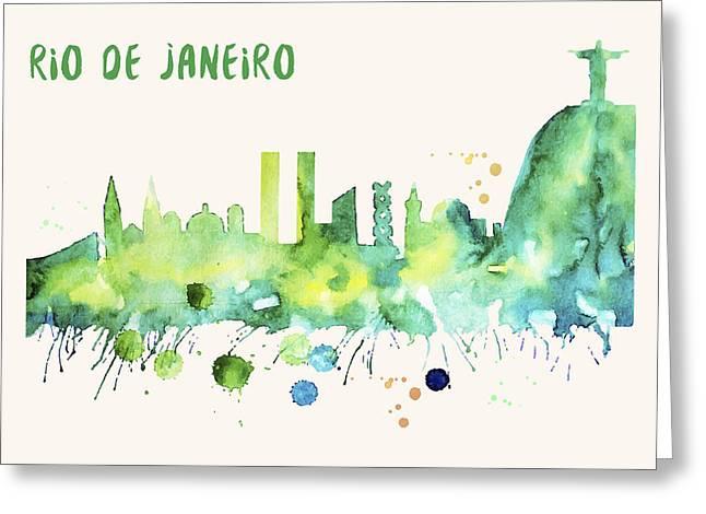 Rio De Janeiro Skyline Watercolor Poster - Cityscape Painting Artwork Greeting Card