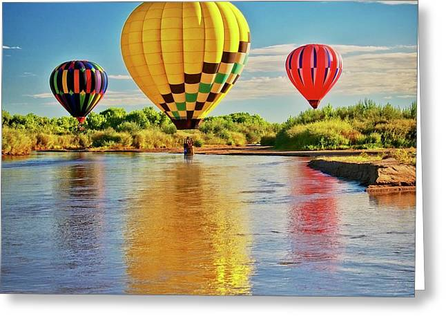 Rio Grande Balloon Reflection, Albuquerque, Nm Greeting Card