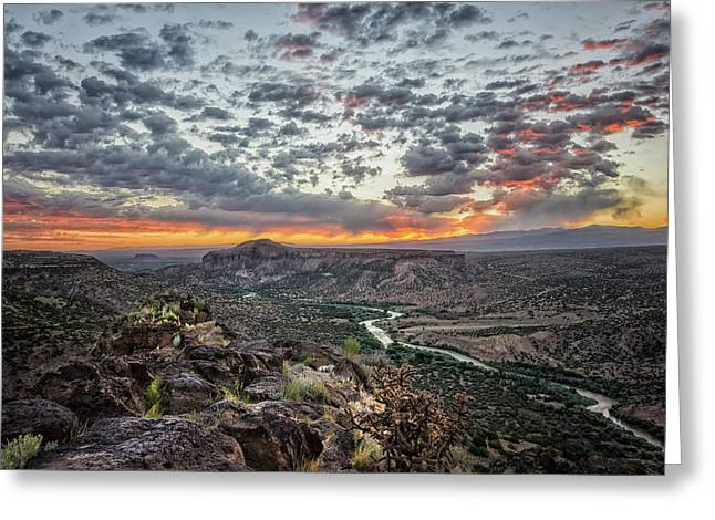 Rio Grande River Sunrise 2 - White Rock New Mexico Greeting Card