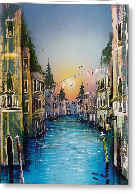 Rio Madalena  Venice Greeting Card by Angel Ortiz