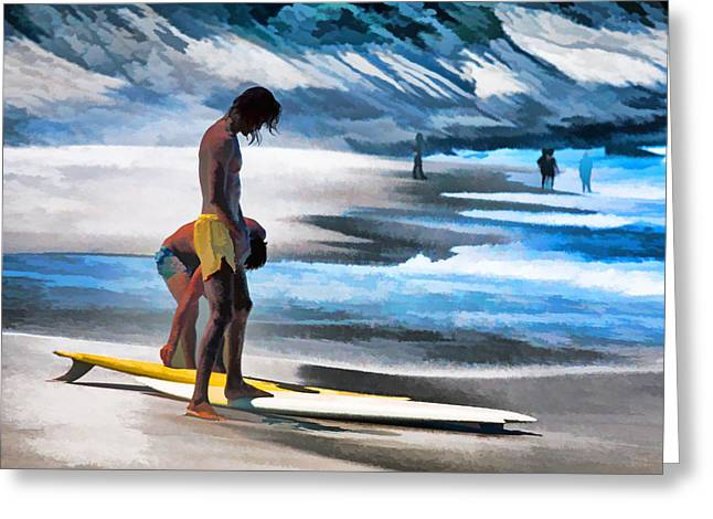 Rio Surfers Greeting Card by Dennis Cox