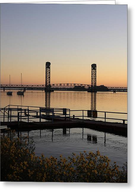 Rio Vista Bridge And Sail Boats Greeting Card by Troy Montemayor