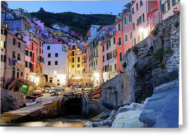 Riomaggiore, Cinque Terre At Night Liguria Italy Greeting Card