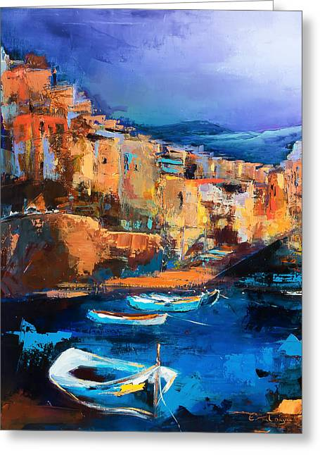 Greeting Card featuring the painting Riomaggiore - Cinque Terre by Elise Palmigiani