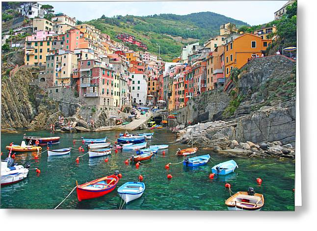 Italian Tuscan Greeting Cards - Riomaggiore Greeting Card by Dan Breckwoldt