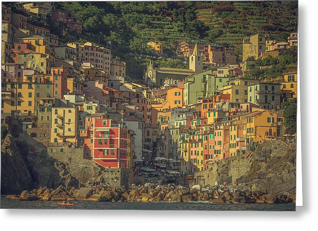 Riomaggiore From The Sea Greeting Card by Chris Fletcher
