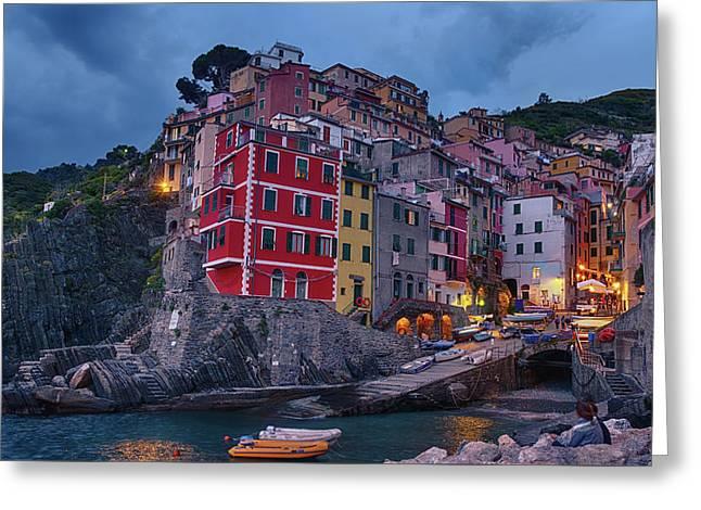 Riomaggiore In Cinque Terre Italy Greeting Card by Joan Carroll