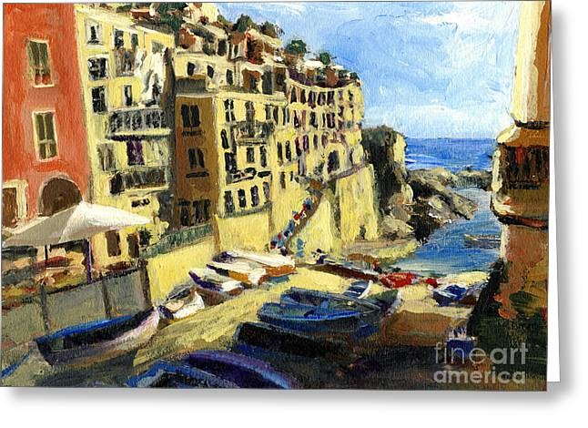 Riomaggiore Italy Late Afternoon Greeting Card