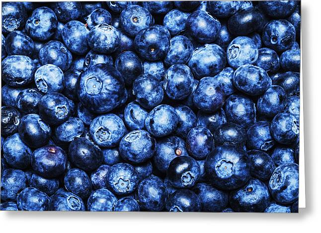 Ripe And Juicy Bluberries Background Greeting Card