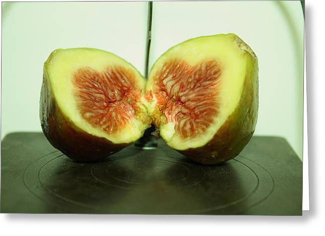 Ripe Fig On Iron Platte. Greeting Card
