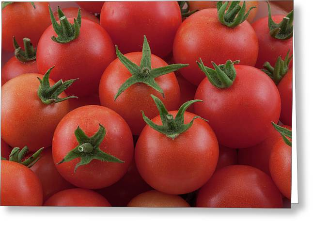 Greeting Card featuring the photograph Ripe Garden Cherry Tomatoes by James BO Insogna
