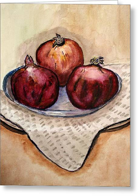 Ripe Pomegranates . Greeting Card by Shlomo Zangilevitch