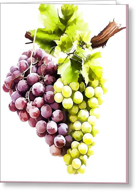 Ripe Red And Green Grapes  Greeting Card