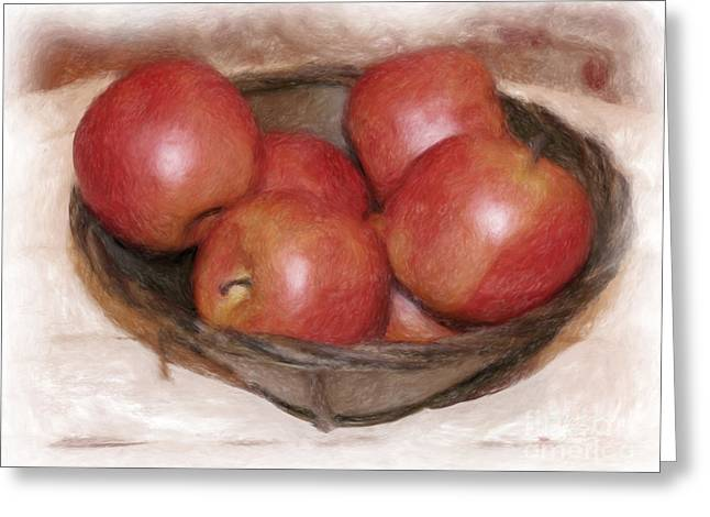 Ripe Red Apples Greeting Card by Susan  Lipschutz