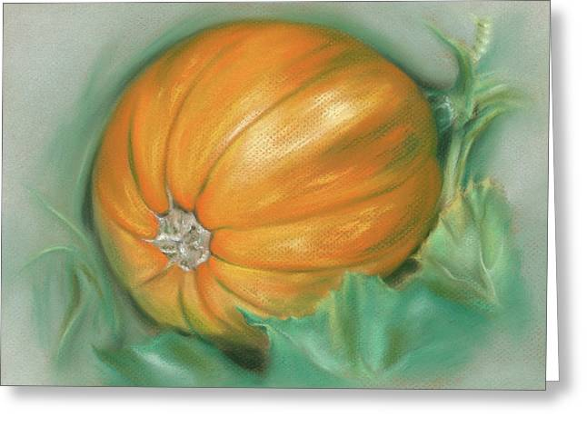 Greeting Card featuring the pastel Ripening Pumpkin On The Vine by MM Anderson