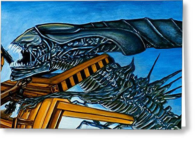 Greeting Card featuring the painting Ripley Vs Queen Up Close And Personal by Al  Molina