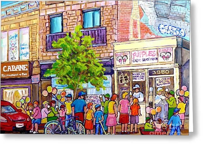 Ripples Ice Cream Shop Rue St Laurent Street Party Balloon Fun Montreal Art Carole Spandau Greeting Card
