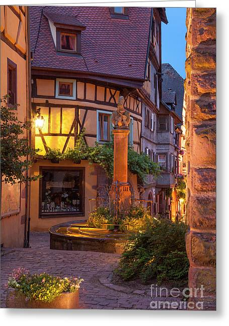 Riquewihr Night Greeting Card by Brian Jannsen