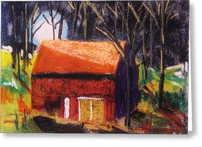Barn Door Drawings Greeting Cards - Rising Above the Roof Greeting Card by John  Williams