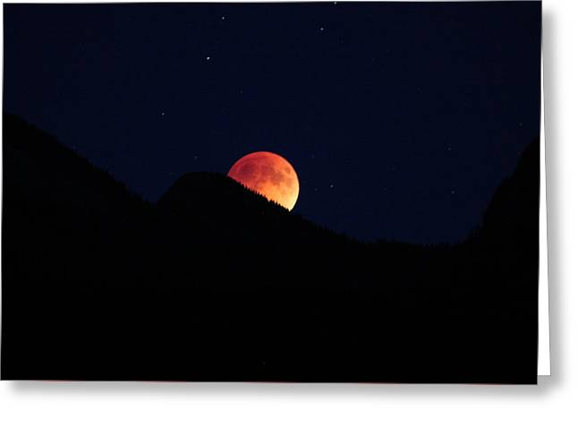 Blood Moon Rising Greeting Card by Cathie Douglas