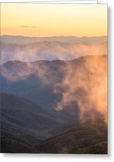Rising Fog Greeting Card by Shelby Young