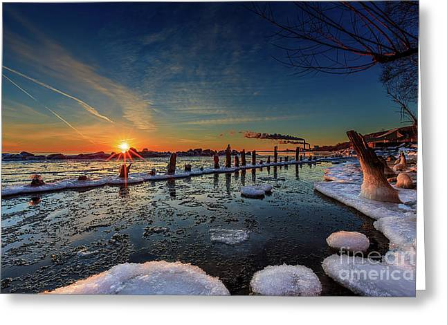 Rising On The Icy Blue Greeting Card