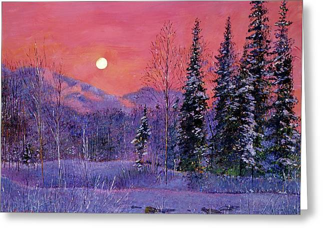 Most Greeting Cards - Rising Snow Moon Greeting Card by David Lloyd Glover