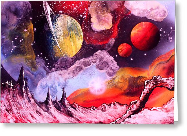 Outer Space Paintings Greeting Cards - Rising Star  Greeting Card by Tony Vegas