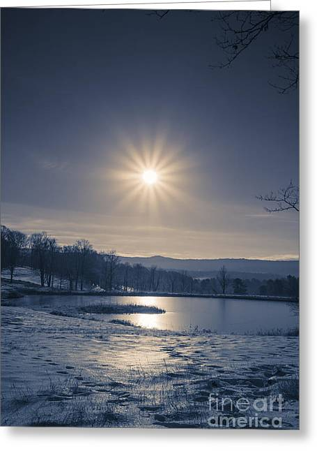Rising Sun On A Cold Winter Morning Greeting Card by Edward Fielding