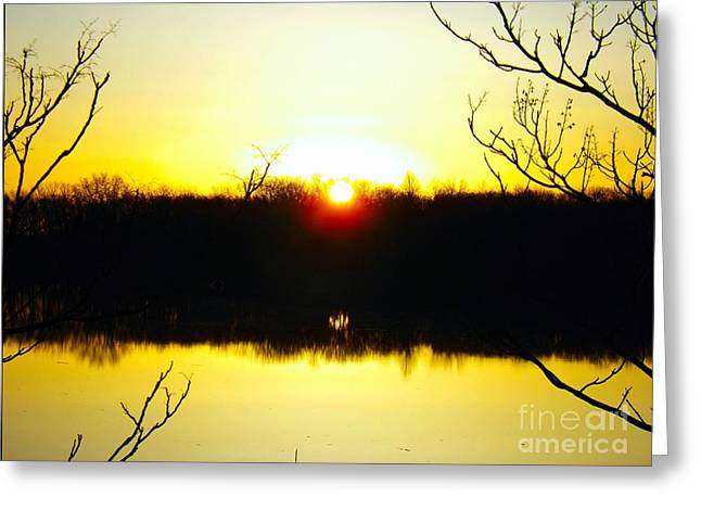 Rising Sun On The Delaware River  Greeting Card