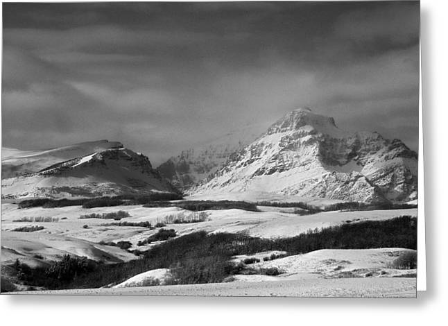 Rising Wolf Mountain- Winter - Black And White Greeting Card