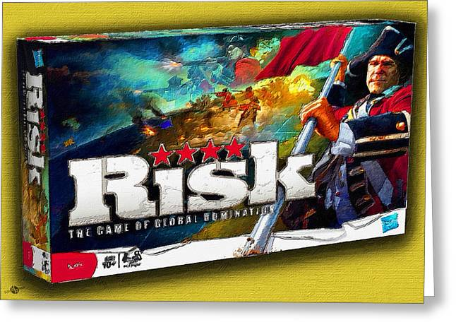 Risk Board Game Painting Greeting Card by Tony Rubino