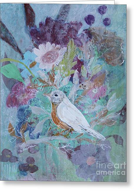 Greeting Card featuring the painting Risky Robin by Robin Maria Pedrero