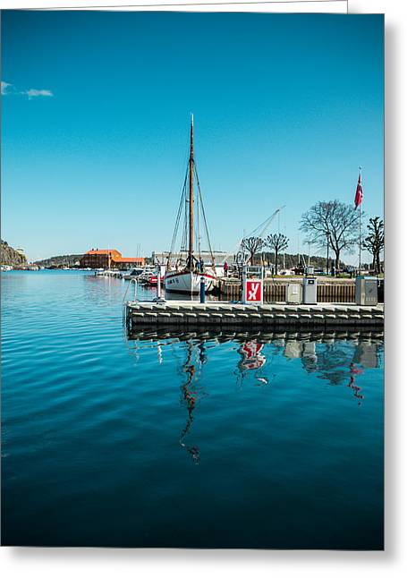 Risor Harbour Greeting Card by Mirra Photography