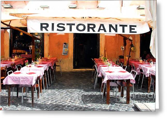 Ristorante In Rome Greeting Card by Mel Steinhauer
