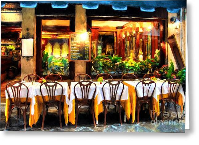 Ristorante In Venice # 2 Greeting Card by Mel Steinhauer
