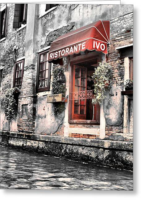 Ristorante On The Canals Greeting Card by Greg Sharpe