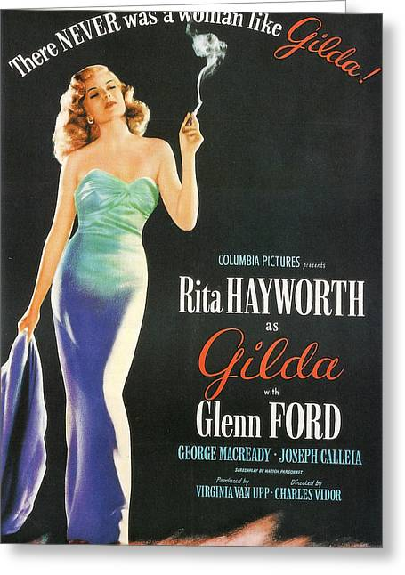 Rita Hayworth As Gilda Greeting Card by Georgia Fowler