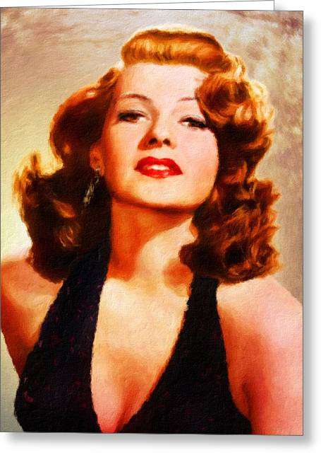 Rita Hayworth By Js Greeting Card by John Springfield