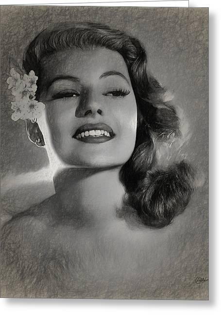 Rita Hayworth Greeting Card by Quim Abella